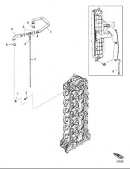 Схема Прокладка шлангов охладителя нагнетаемого воздуха/впускного коллектора