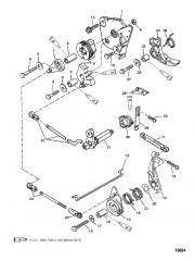 Схема Тяга газа/тяга управления переключением передач (Румпельная рукоятка переключения реверса)