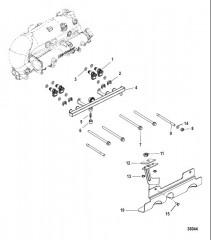Схема Топливная направляющая и кронштейн сливной системы