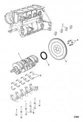 Схема Блок цилиндра Коленчатый вал и маховик