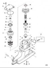 Схема Корпус ведущего вала и ведущие шестерни (Привод X)