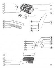 Схема Блок цилиндров, масляный насос и маслосборник