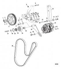 Монтаж генератора и насоса забортной воды (Конструкция II)