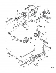Схема Тяга газа/тяга управления переключением передач (Румпельная рукоятка)