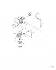 Схема Топливный насос и топливный фильтр (Сер. номера от 0D763855 до 0D937011)