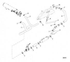 Схема Система охлаждения Компоненты для неочищенной воды, левый борт (AXIUS)