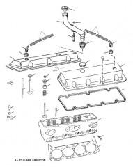 Схема ГОЛОВКА ЦИЛИНДРА И КРЫШКА КОРОМЫСЛА (7.4L BRAVO)