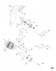 Схема Генератор и кронштейны (Delco)