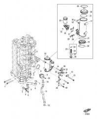 Схема Блок цилиндров правого борта/Маслоохладитель