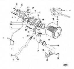Схема Турбонагнетатель и воздушный фильтр в сборе Конструкция II