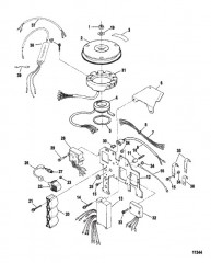 Схема Компоненты системы зажигания (Сер. номера от 0E066620 до 0E095087)