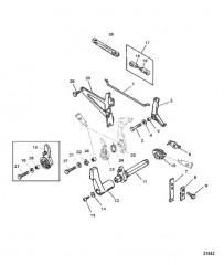Схема Тяга газа/тяга управления переключением передач (Боковой реверс)