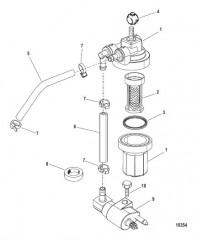 Схема Топливный фильтр в сборе (USA-1B153168/BEL-0P360021 и выше)