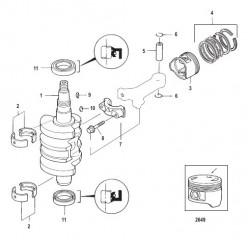 Схема Crankshaft, Pistons and Connecting Rods 0R310614 and Below