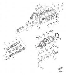Блок цилиндров, распределительный вал и коленчатый вал