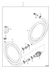 Схема Топливопровод в сборе (Зажим на разъемном соединении – шланг с низкой проницаемостью)