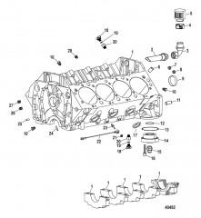 Схема Компоненты двигателя (Блок цилиндров)