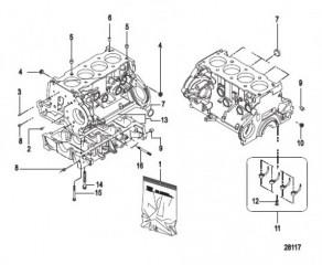 Схема Блок цилиндра Картер