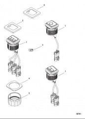 Схема Комплект переключателя пуска/останова – установка заподлицо От 879302A01 до A05