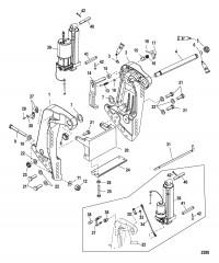 Схема Транцевый кронштейн (С/н- USA 0T801000/ BEL 0P268000 и выше)