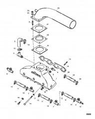 Схема Выхлопной коллектор/коленчатый патрубок (Сер. номера от 0F745260 до 0F877734)