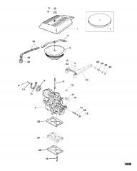 Схема Карбюратор и тяга газа (2-диффузорный)