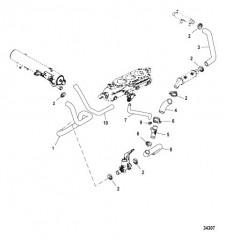 Схема Система охлаждения Компоненты для неочищенной воды, левый борт