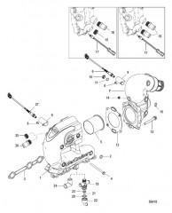 Схема Выхлопной коллектор и коленчатый патрубок
