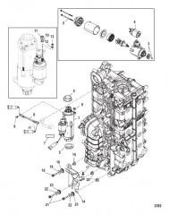 Схема Монтаж кронштейна стартера/электрического кабеля