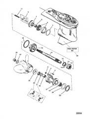 Картер редуктора в сборе (Гребной вал) (3-кулачковая реверсивная муфта сцепления)
