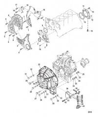 Схема Распределительная крышка и корпус маховика (БОРТОВЫЕ ДВИГАТЕЛИ)
