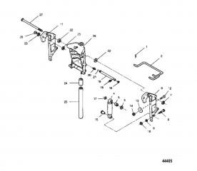 Схема Шарнирный кронштейн и кронштейн транца (Модели с усилителем дифферента)