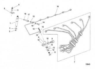 Схема Топливопроводы и форсунка