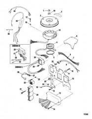 Схема Компоненты системы зажигания (Сер. номера от 0E033711 до 0E066619)