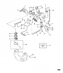 Схема Турбонагнетатель/выхлопной коленчатый патрубок (Старая конструкция)