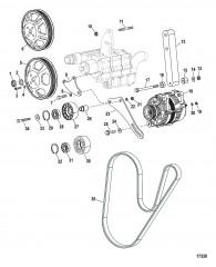Монтаж генератора и насоса забортной воды (Конструкция I)