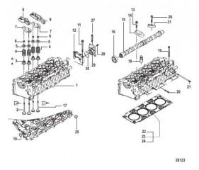 Схема Распределительный вал и головка цилиндра