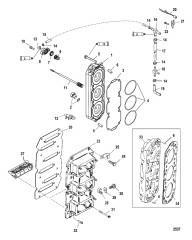 Схема Блок с пластинчатыми клапанами и головка цилиндра