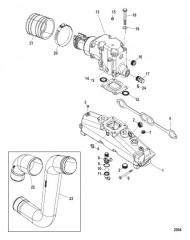 Схема Выхлопной коллектор Коленчатый патрубок и трубы (пневматический слив)