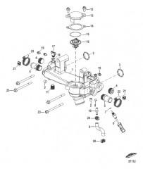 Схема Охлаждение неочищенной водой Перепускная труба в сборе